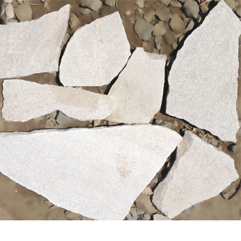 white irregular shaped quartzite stone