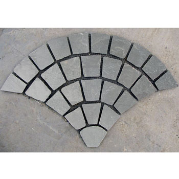 fan-shaped stone mats_grey slate