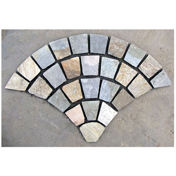 fan-shaped stone mats_beige slate