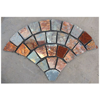 fan-shaped stone mats_Chinese multicolor slate