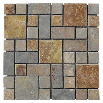 Gold Mosaic Slate Paving stones JR-MC-004